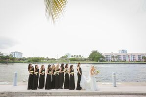 Bridesmaids in Black Dresses Along Waterfront