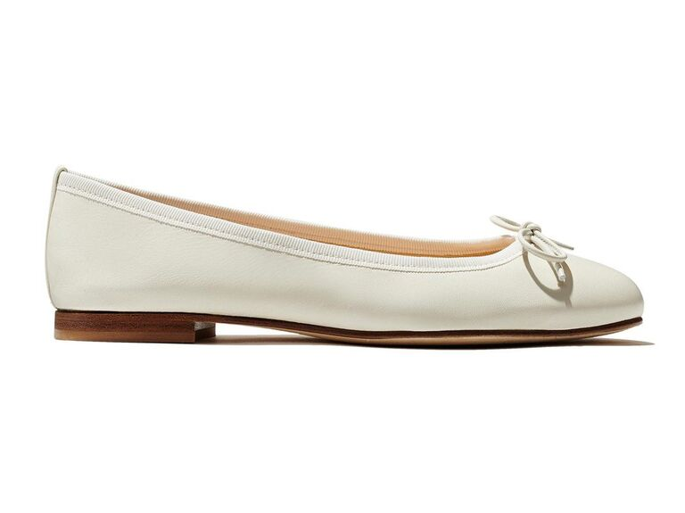 White ballet flat comfortable wedding shoes