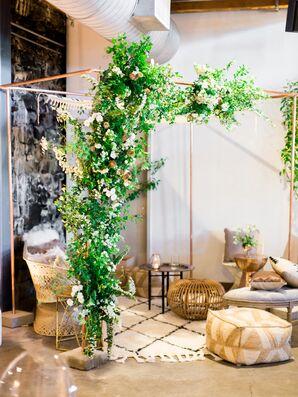 Greenery Chuppah in Modern Lounge Area