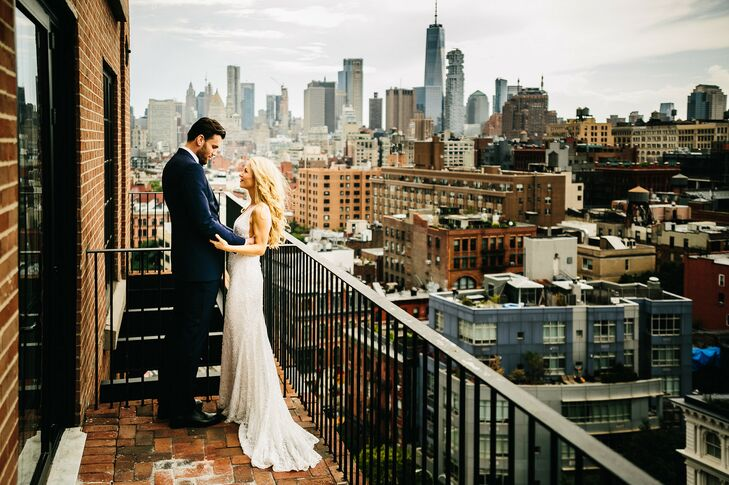 Modern Bride and Groom with New York City Skyline