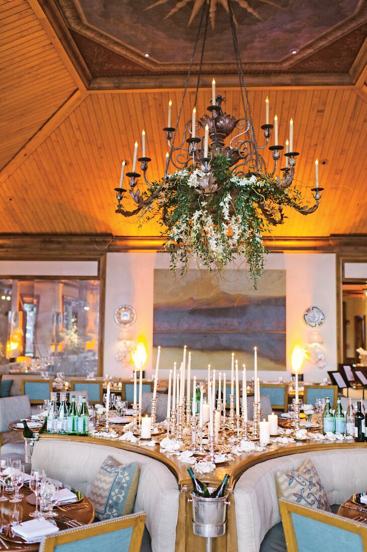 Fresh flowers hung from the Aspen Club's ornate chandelier.