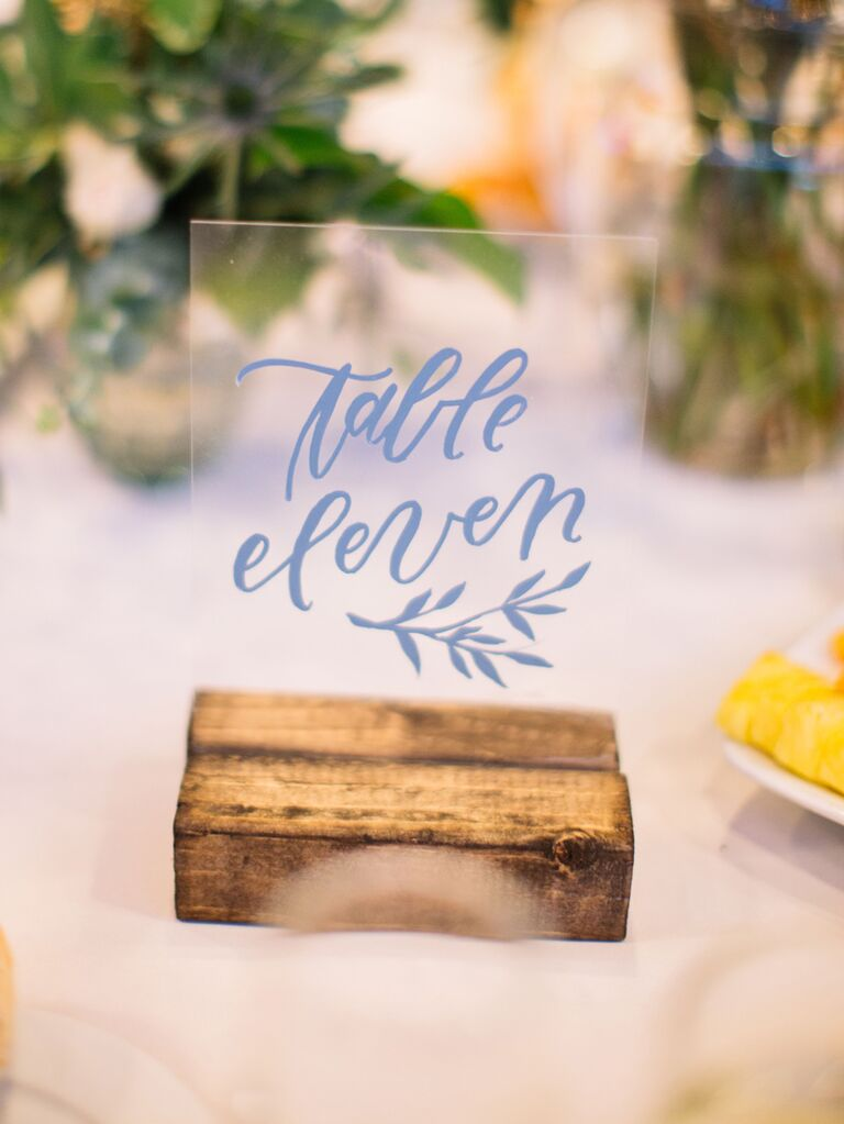 Acrylic wedding table number with wooden stand