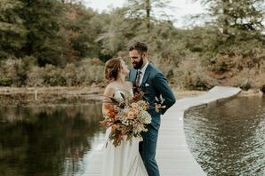 Bohemian Couple with Updo, Vintage Bouquet and Dark Blue Suit