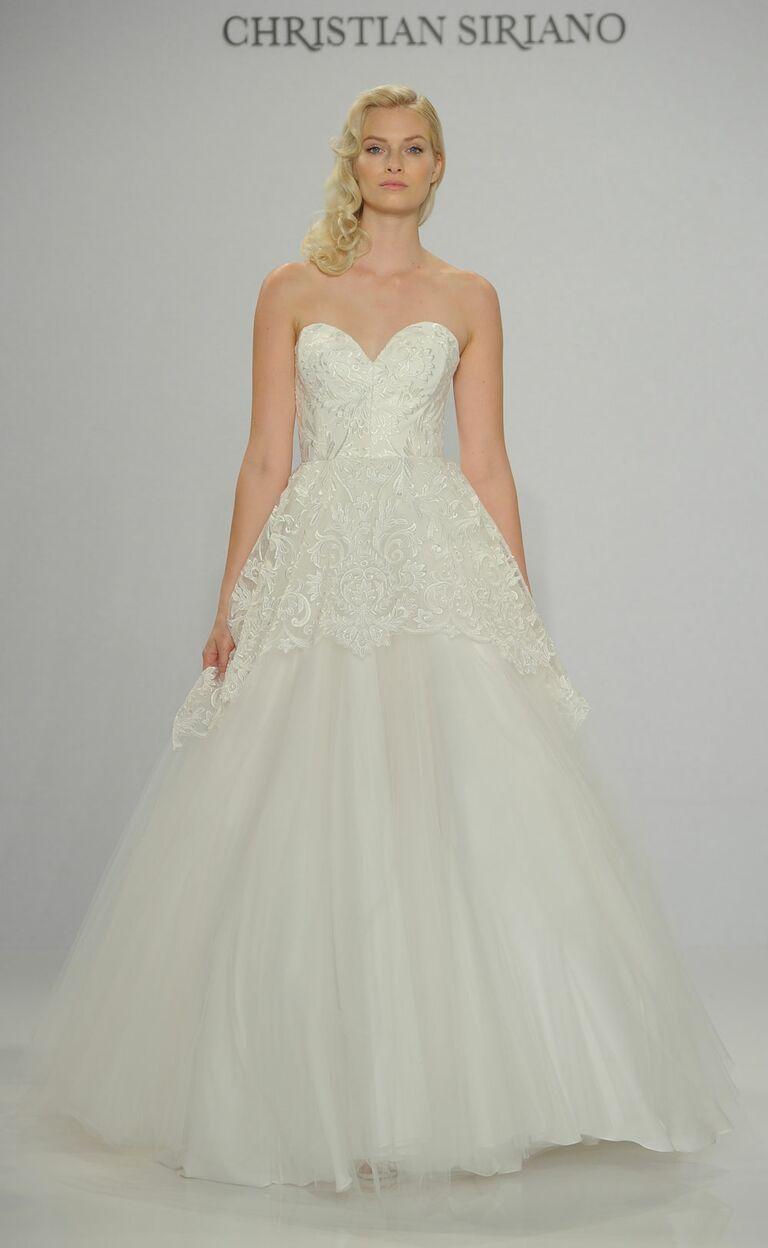 Siriano Spring 2017 Strapless Lace Overlay Wedding Dress