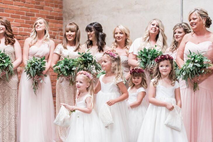 5c6c608cfb3 Mismatched Blush and Rose Gold Sequin Bridesmaid Dresses