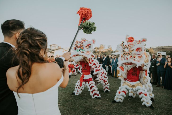 Lion Dancers at Modern Wedding  in Rolling Hills Estates, California