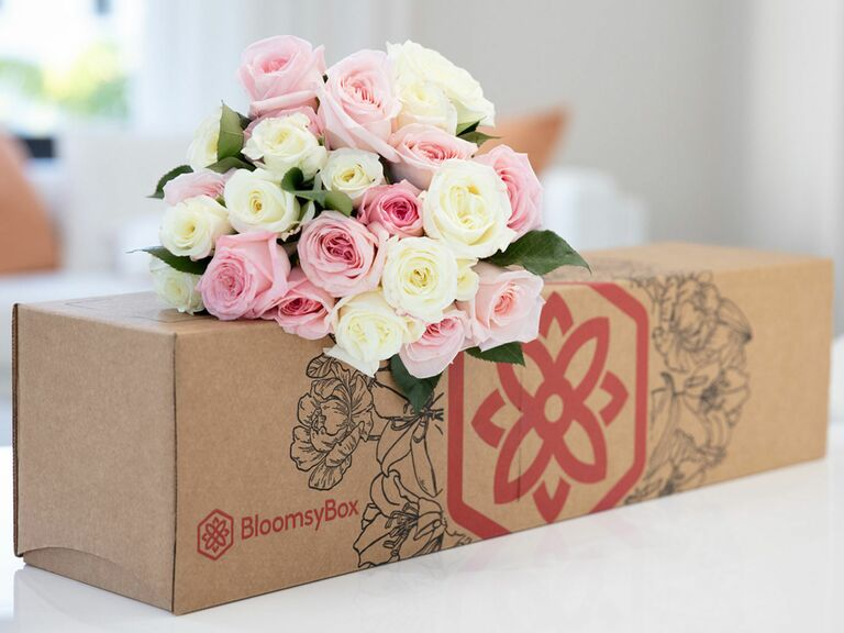 subscription box with bouquet of fresh flowers