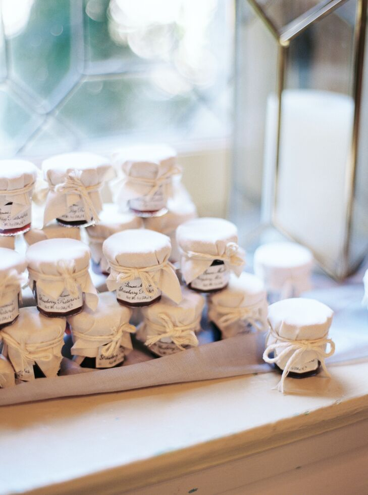 """I ordered little jars of French jams as favors. We covered the lids with little squares of muslin cut the day before the wedding and tied with baker's twine,"" Tammie says. ""They came out super-cute. """