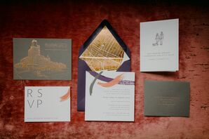 Glamorous Urban Invitations with Gray, Purple and Gold