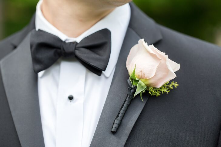 Seeded Eucalyptus White Lilac Spray Groom Groomsmen Wedding Boutonniere Blush Pink Ranunculus Rosebud