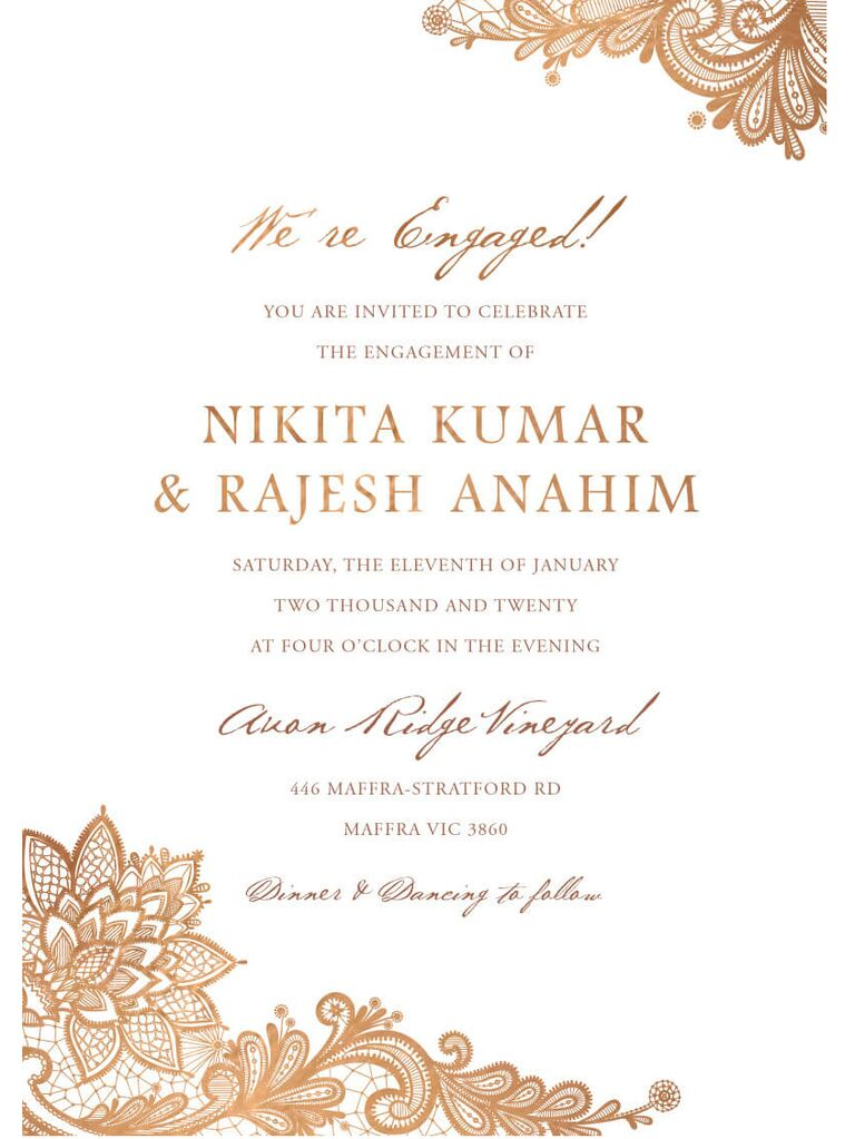 Intricate Indian engagement party invitation