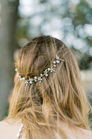 Casual Down Hairstyle with Jeweled Hair Accessory