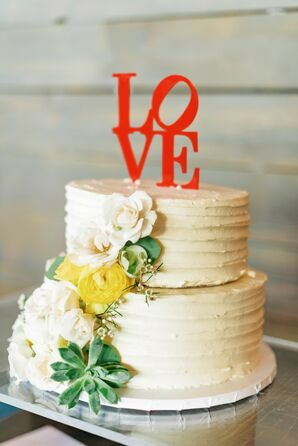 Two-Tiered Wedding Cake with Comb Frosting, Flowers and Red Cake Topper