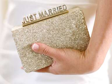 "Gold sparkly ""Just Married"" bridal clutch"
