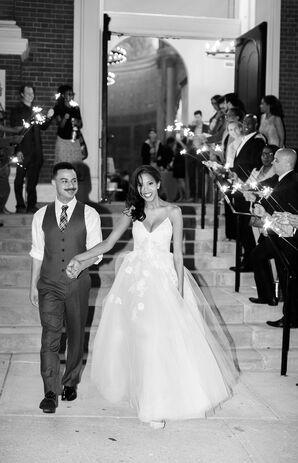 A-Line Organza Wedding Dress with Floral Lace Appliqués