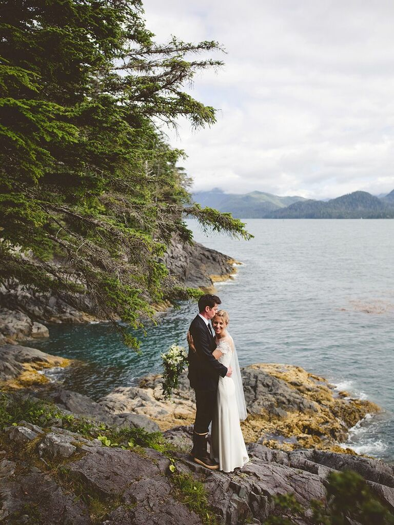 bride and groom in Alaska