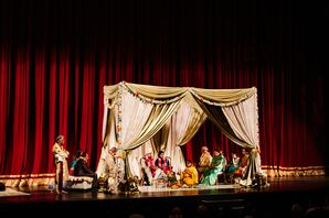 Glamorous Gold Mandap at Traditional Hindu Wedding