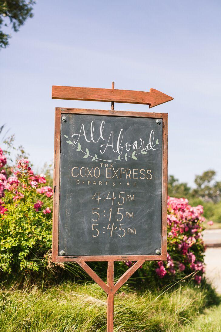 Wedding Trolley Transportation Chalkboard Sign