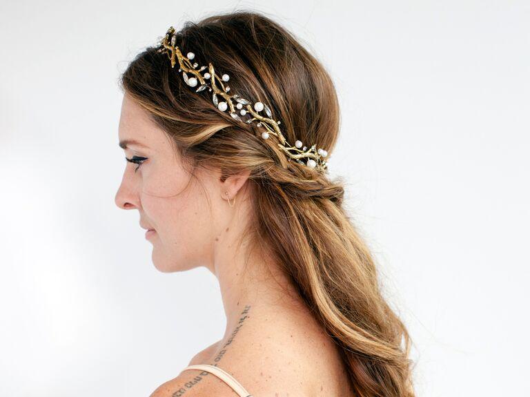 Half Up Half Down Bridal Updo With Gold Headband