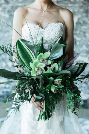 Statement All-Green Orchid Bouquet