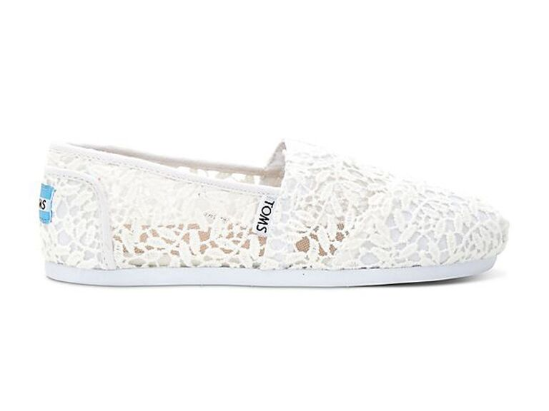 White crochet TOMS comfortable wedding flats