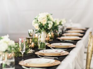 Simple, Elegant Black and Gold Table Decorations