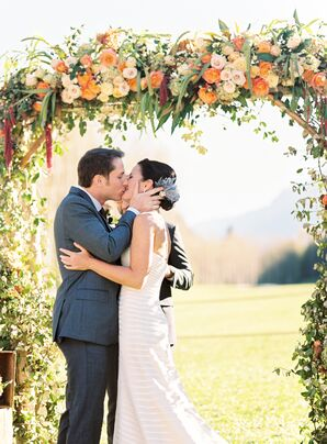 Romantic Orange Rose and Ivy Wedding Arch