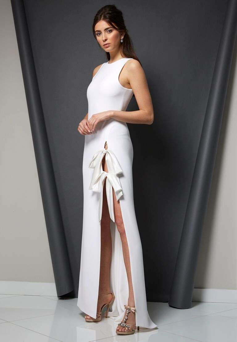 Randi Rahm Spring 2020 Bridal Collection wedding dress with high slit and tie details