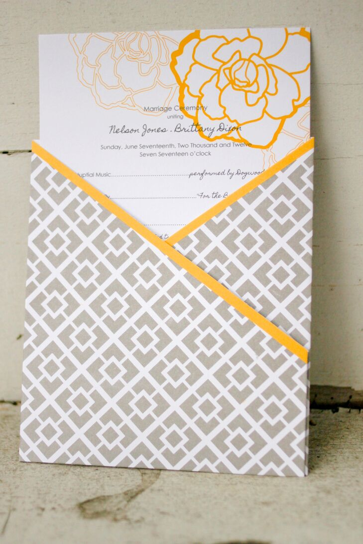 The gray and yellow wedding programs were designed by Stewart Design Studios. They included a graphic gray and yellow print envelope.