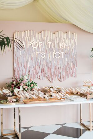 Gold and Blush Popsicle Escort Card Display