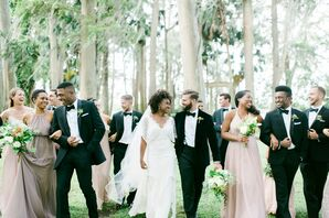 Neutral Bridesmaid Dresses and Black Tuxedos