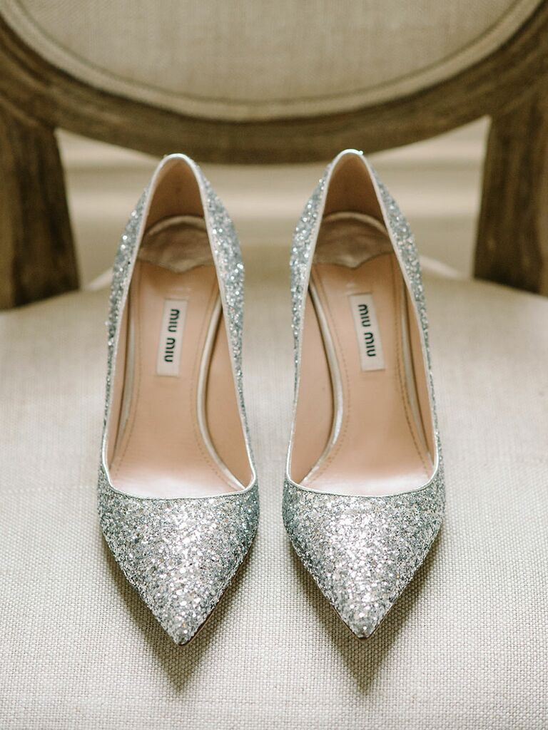 Sparkly silver pumps for a glamorous wedding