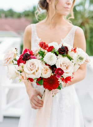 Red-and-White Bridal Bouquet for Wedding at The Gasparilla Inn in Boca Grande, Florida