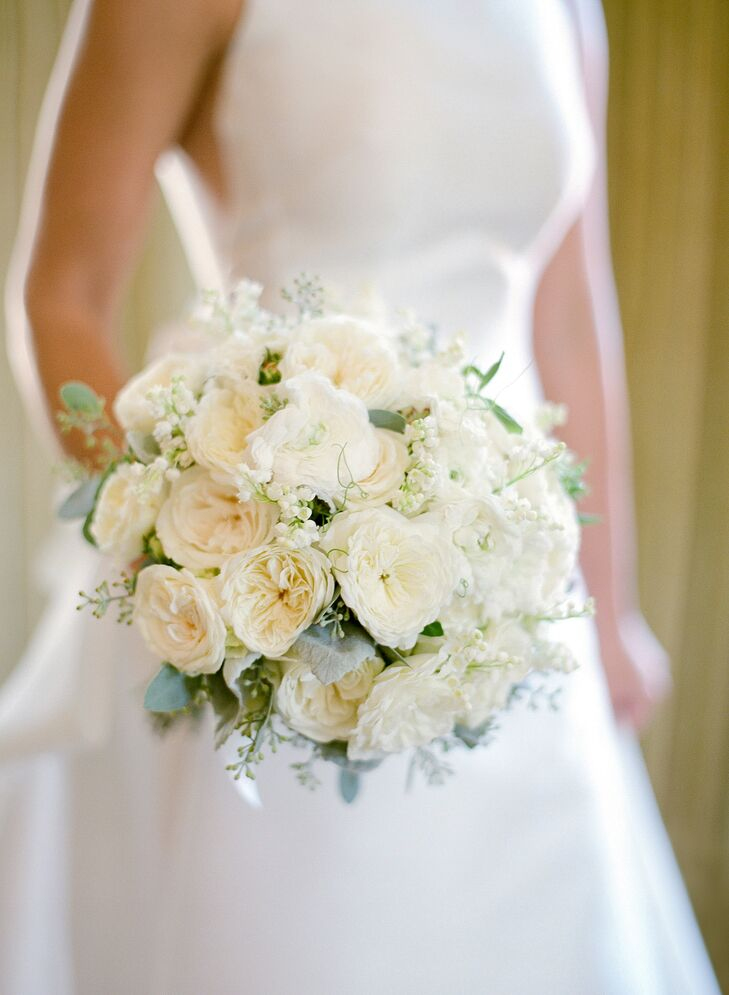 Ivory Cabbage Rose and Baby's Breath Bouquet