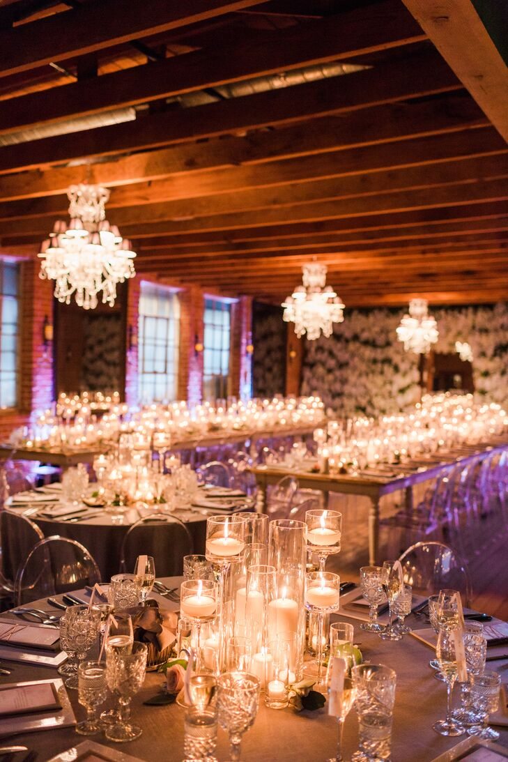 Glamorous Candle-Lit Reception in an Industrial Space