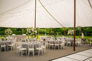 Classic Tented Reception with Neutral Colors and String Lights