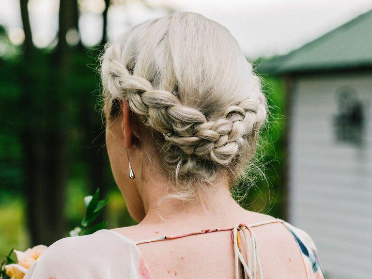 Bridesmaid updo braided halo