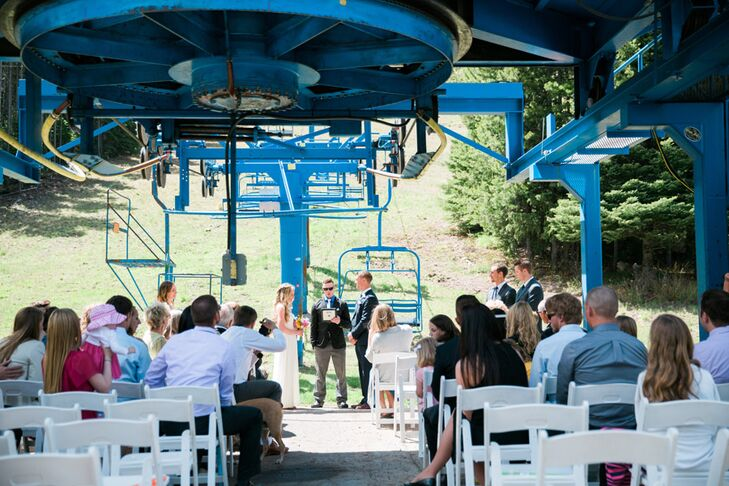 Christine and Mitch held their ceremony outdoors at Castle Mountain's ski lift  in Pincher Creek, Alberta, because that's where they first met. A close friend officiated.