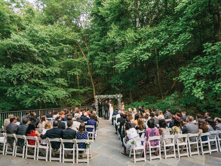 Wedding guests at wedding ceremony