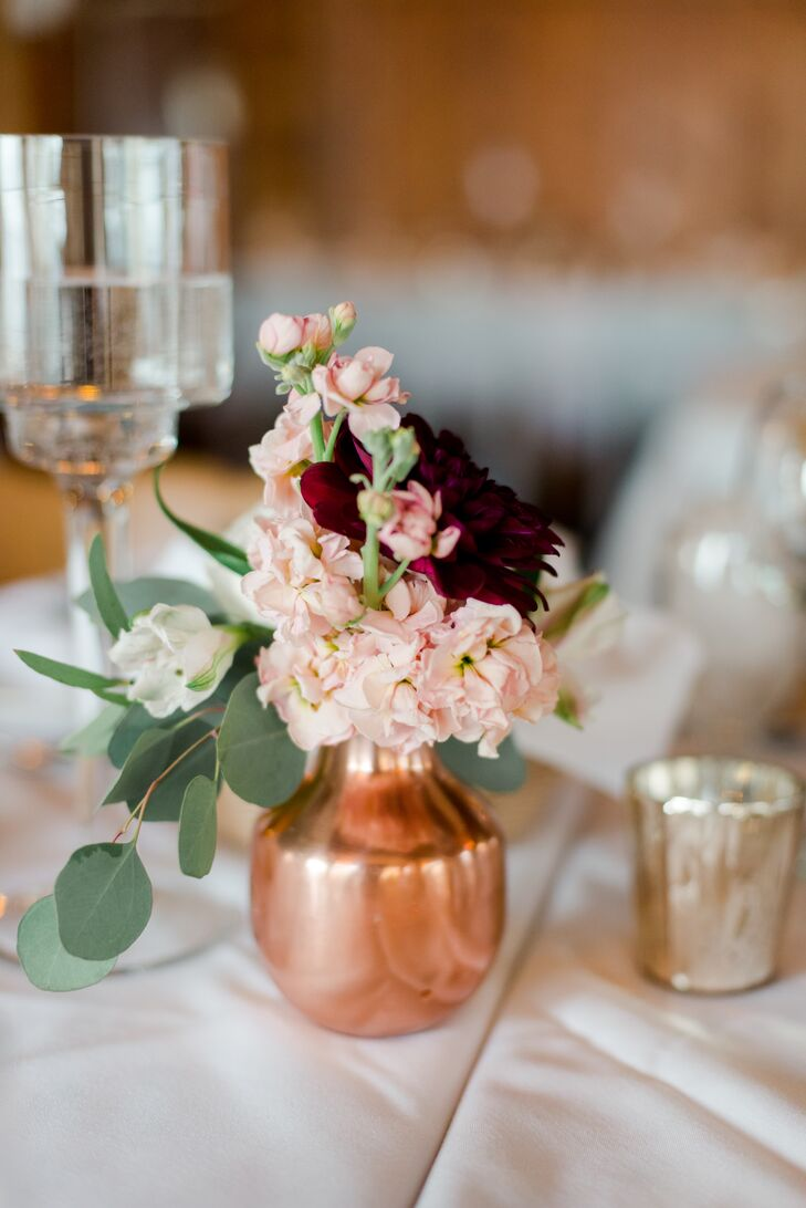 Rose Gold Vase with Eucalyptus, Pink Blossoms and Burgundy Dahlia