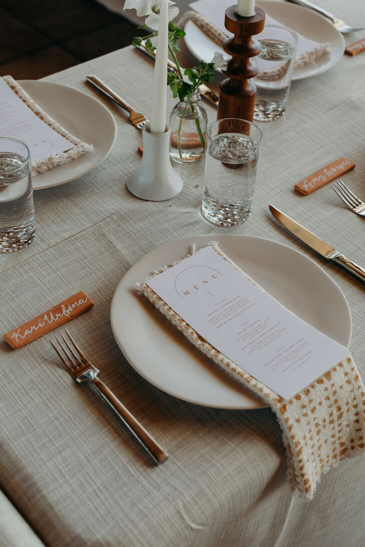 Minimalist Place Setting with Terra Cotta Accents