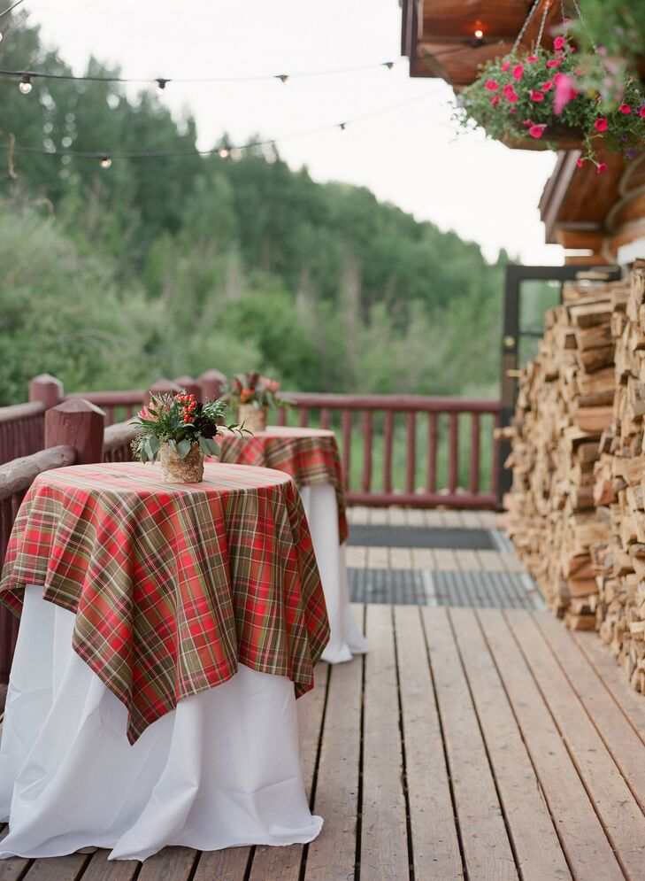 Red and Taupe Plaid Cocktail Table Linens