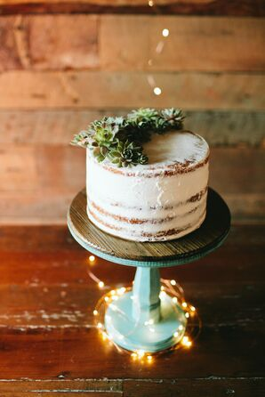 Single-Tier Naked Cake Topped with Succulents