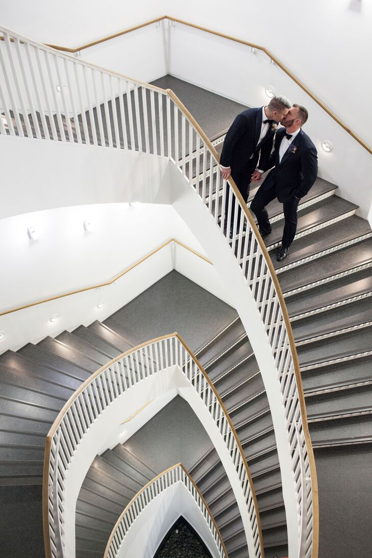 The photographer snapped a dramatic shot of Justin and Adam on winding staircase at the Museum of Contemporary Art in Chicago, Illinois.