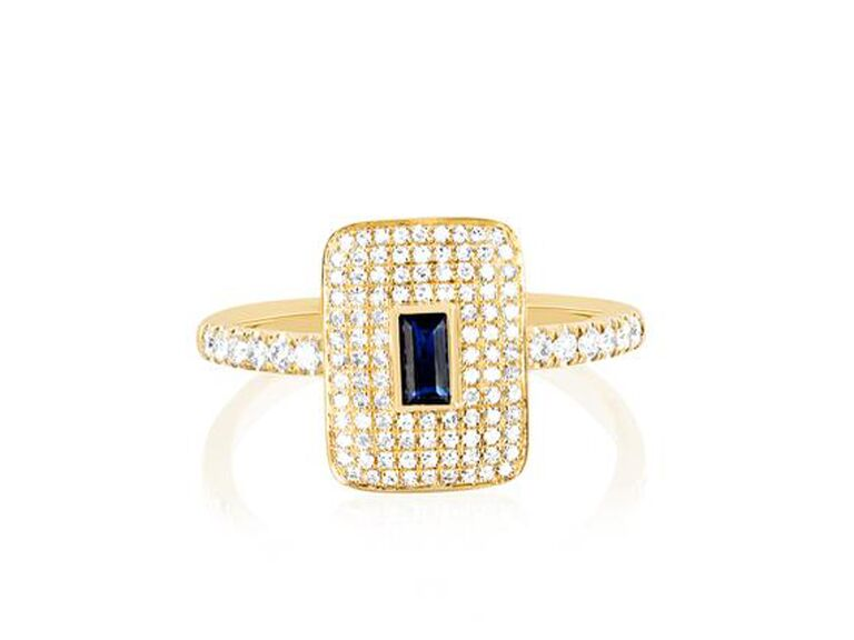 Diamond engagement ring with blue sapphire center rectangle