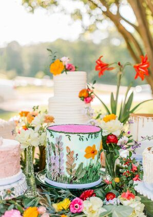 Whimsical Single-Tiered, Spring-Themed Wedding Cake