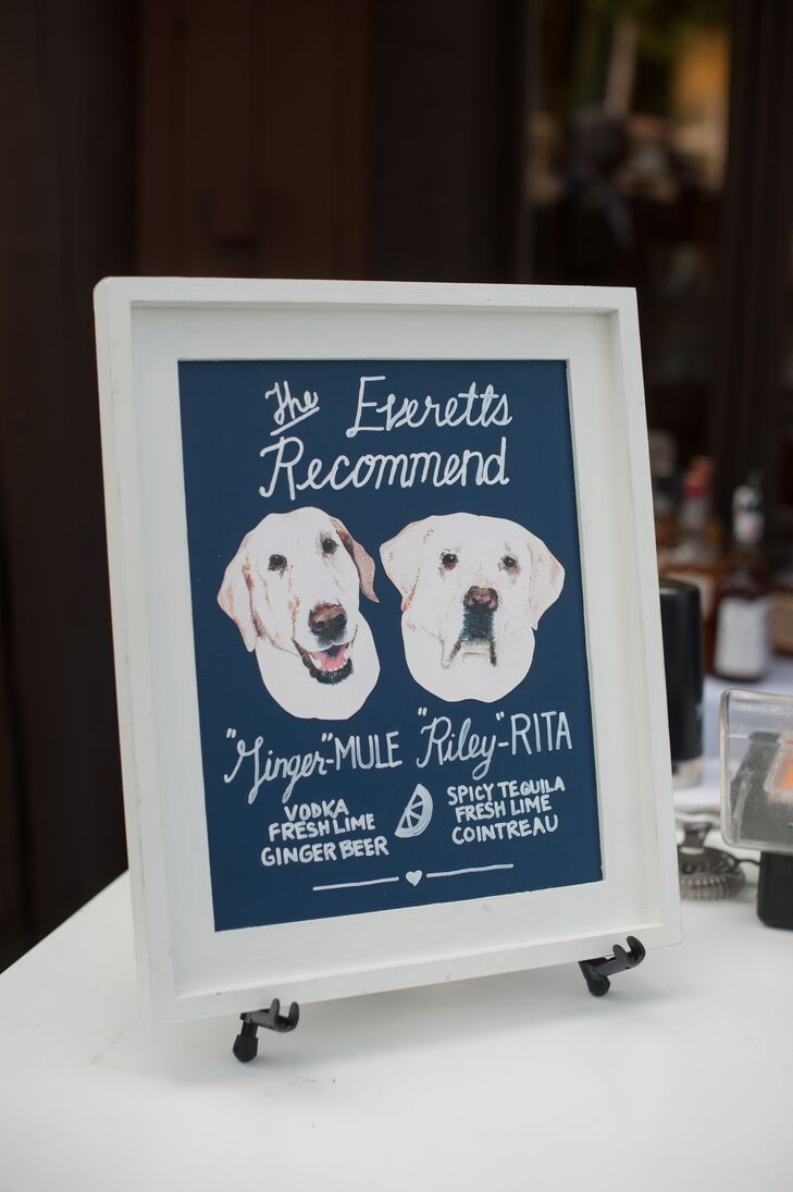 Signature Cocktail Sign with Dog Illustration