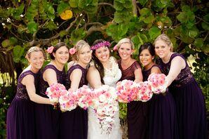 Plum Bridesmaid Dresses With Lace Detail