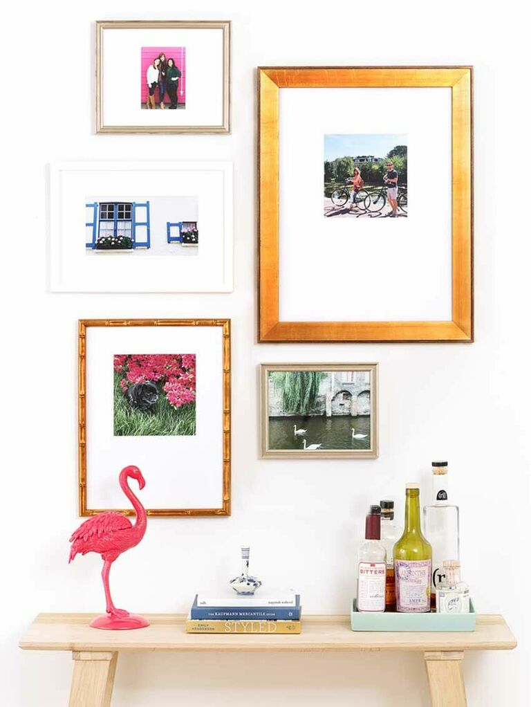 Gallery wall with mix-and-match metallic frames