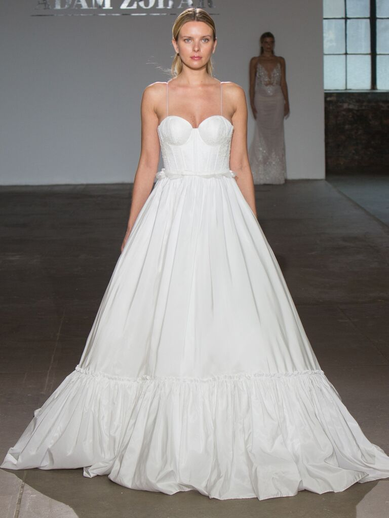 Adam Zohar Spring 2019 Collection silk ball gown with tiered hemline, sweetheart neckline and spaghetti straps